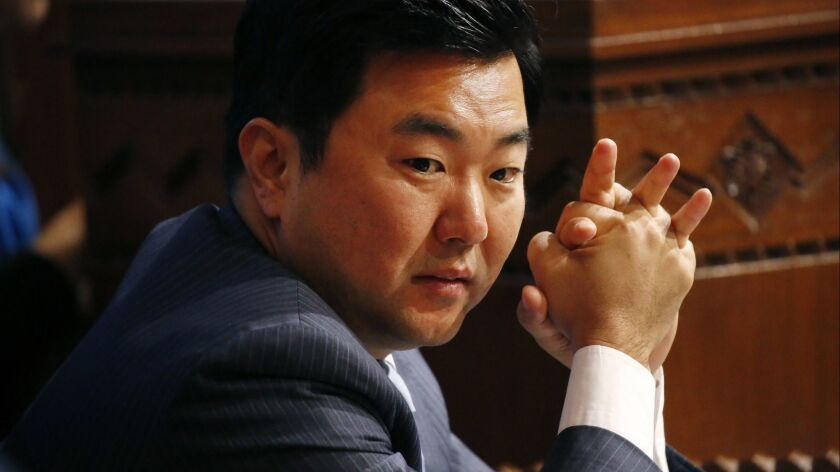 Los Angeles City Councilman David Ryu listens during a council meeting at Los Angeles City Hall in April.