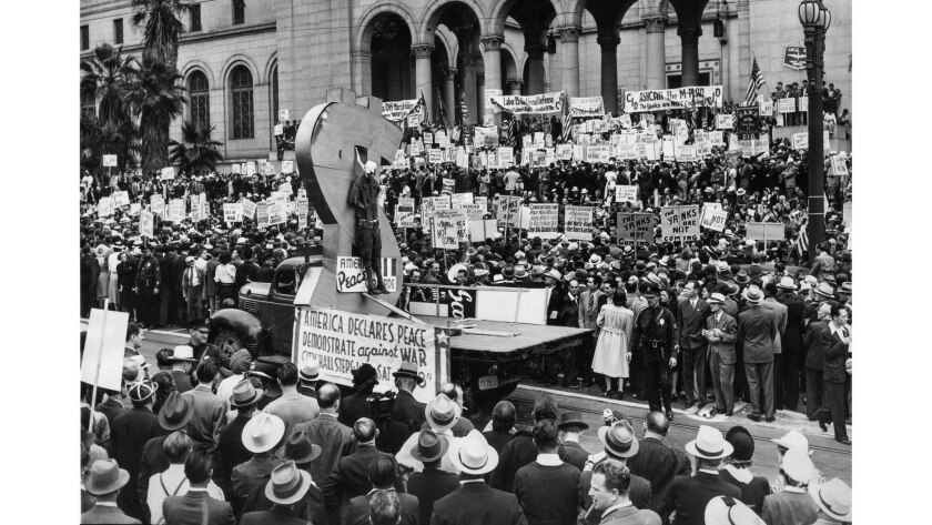 June 8, 1940: Crowds gather at City Hall to urge the United States to stay out of World War II.