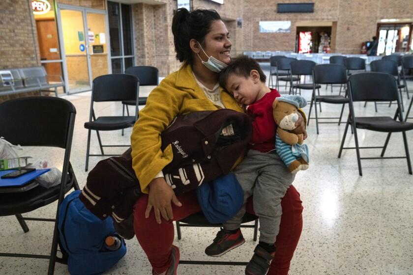 El Salvadoran asylum seeker Karla M. Rivera Hernandez, 24, holds her son, Mateo A. Rivera, 1.