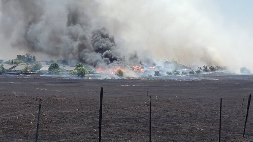 A brush fire in Thermalito, Calif.