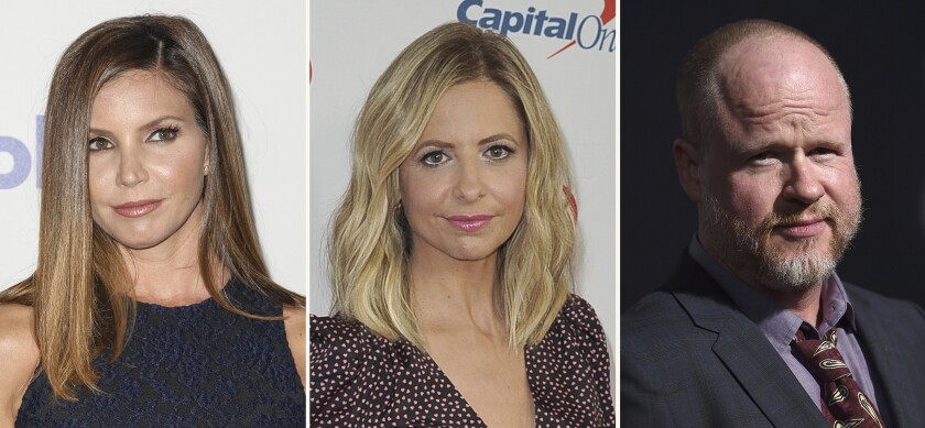 """In this combination photo, Charisma Carpenter, from left, attends the 6th annual Thirst Gala on June 30, 2015 in Beverly Hills, Calif., Sarah Michelle Gellar arrives at Jingle Ball on Dec. 6, 2019, in Inglewood, Calif., and Joss Whedon arrives at the premiere of """"Bad Times at the El Royale"""" on Sept. 22, 2018, in Los Angeles. Whedon, the prominent film and TV creator who faced a claim of abusive behavior on the set of """"Justice League,"""" drew criticism Wednesday, Feb. 10, 2021, from actors who worked with him on """"Buffy the Vampire Slayer"""" including Gellar and Carpenter. Whedon didn't immediately respond to a request for comment. (AP Photo)"""
