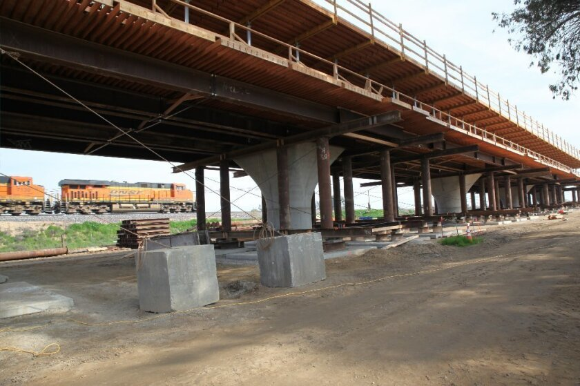 Viaduct under construction in Fresno for bullet train.