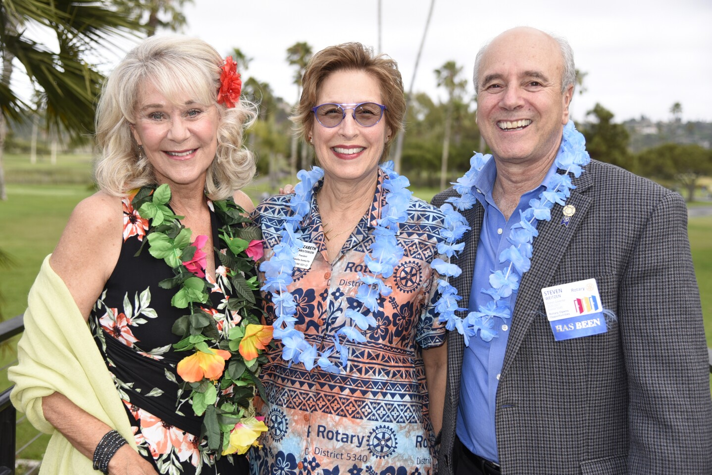 RSF Rotary outgoing President Robin Chappelow, President Elizabeth Christensen, Immediate Past District Governor Steven Weitzen
