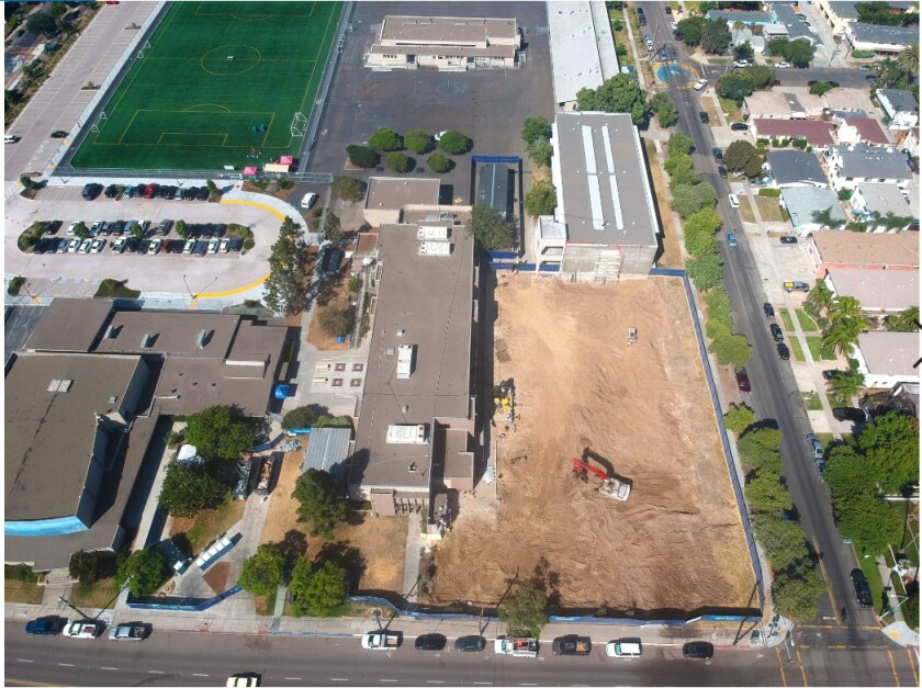 After more than 60 years, this PB Middle School building on Diamond Street is being replaced. The school's whole site modernization project, funded by Propositions S and Z, began in July and will be completed in 2021.