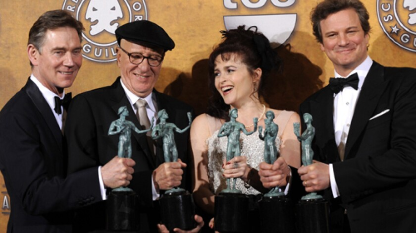 """From left; Anthony Andrews, Geoffrey Rush, Helena Bonham Carter and Colin Firth. The actors won the Screen Actors Guild award for best Cast in a Motion Picture for their parts in """"The King's Speech."""""""