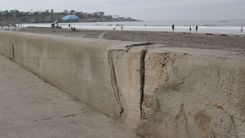 Deteriorating concrete on the seawall