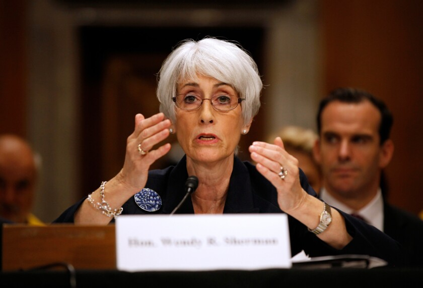 Undersecretary of State for Political Affairs Wendy Sherman testifies on Capitol Hill before the Senate Foreign Relations Committee on Thursday.