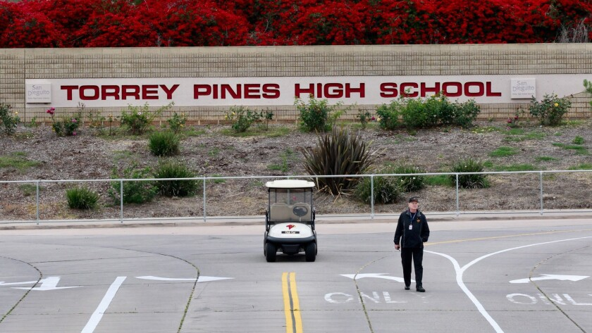 "Classes cancelled at Torrey Pines High School Thursday after authorities received ""credible"" thr"
