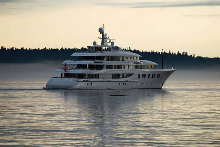 Rick Caruso's 216-foot mega-yacht, the Invictus, is shown off the coast near Seattle. It will be allowed to moor in Newport Beach despite some neighbors' concerns about potential noise and safety.