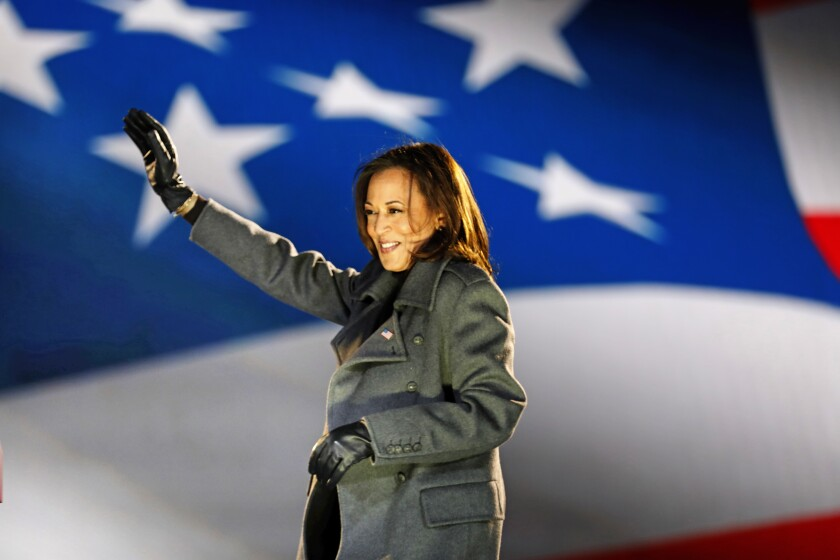Sen. Kamala Harris is the first woman elected to the vice presidency.