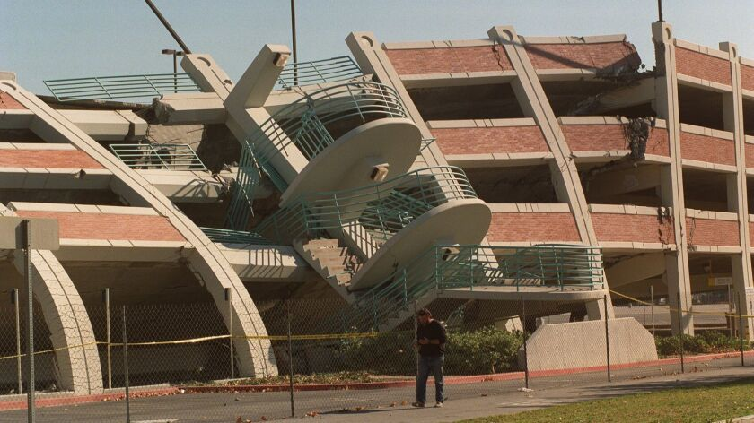 A Cal State Northridge parking structure suffered a near total collapse in the Jan. 17, 1994, earthquake.