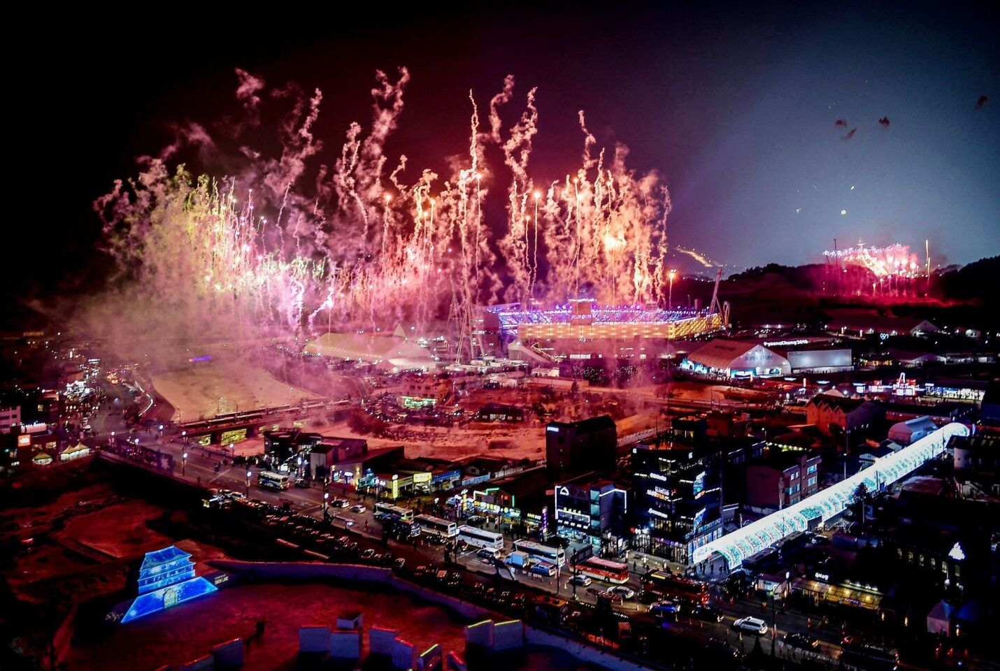 Fireworks go off at the start of the opening ceremony of the Pyeongchang 2018 Winter Olympic Games at the Pyeongchang Stadium.