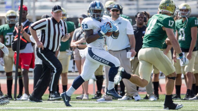 USD running back Joseph Binda (23) and his teammates are headed to Flagstaff for a first-round playoff game.