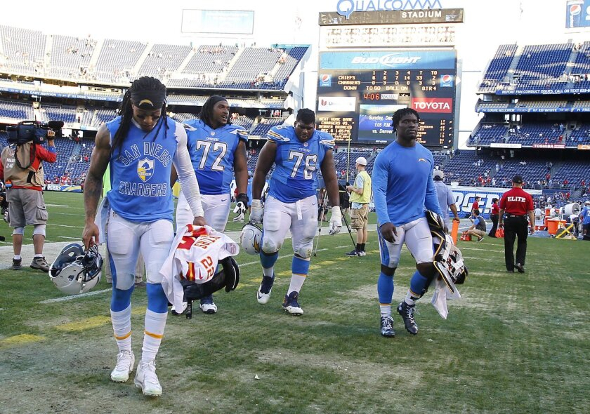 Chargers Jason Verrett, Joe Barksdale, D.J. Fluker, and Melvin Ingram leave the field after a 33-3 loss to the Chiefs.