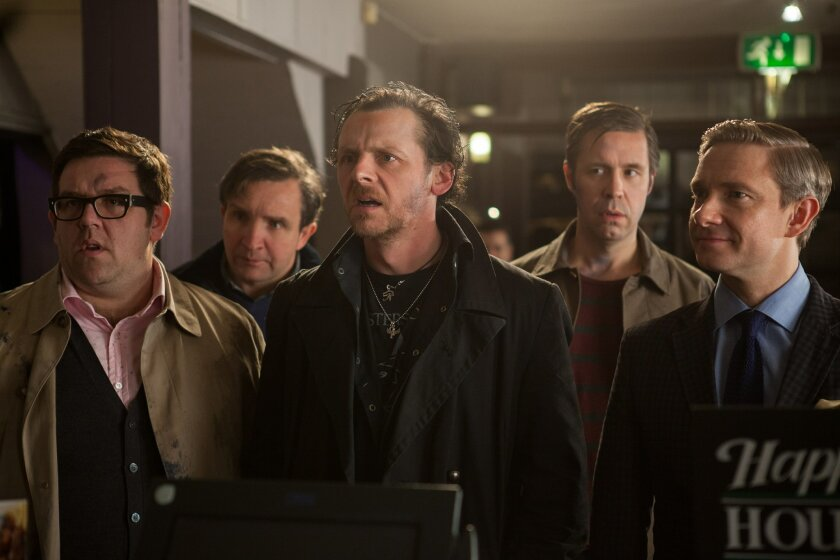 """From left: Nick Frost as Andy, Eddie Marsan as Peter, Simon Pegg as Gary, Paddy Considine as Steven, and Martin Freeman as Oliver in Edgar Wrights new comedy """"The World's End."""""""