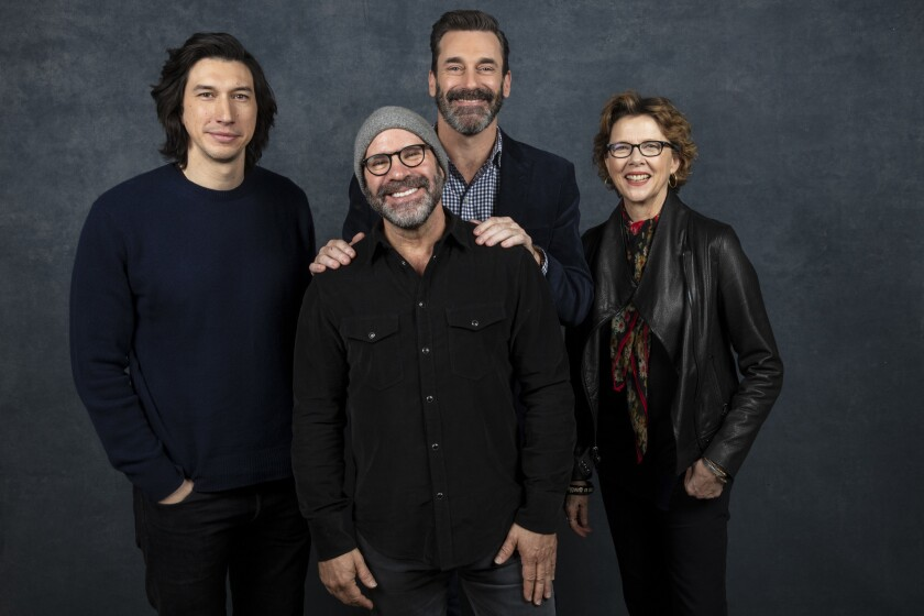 "Actor Adam Driver, writer-director Scott Z. Burns and actors Jon Hamm and Annette Bening from the film ""The Report."""