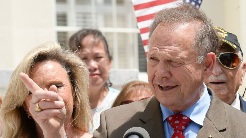 Suspended Alabama Chief Justice Roy Moore announces his plan to run for U.S. Senate during a news c