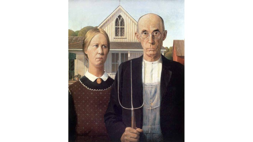 Grant Wood's 'American Gothic.'