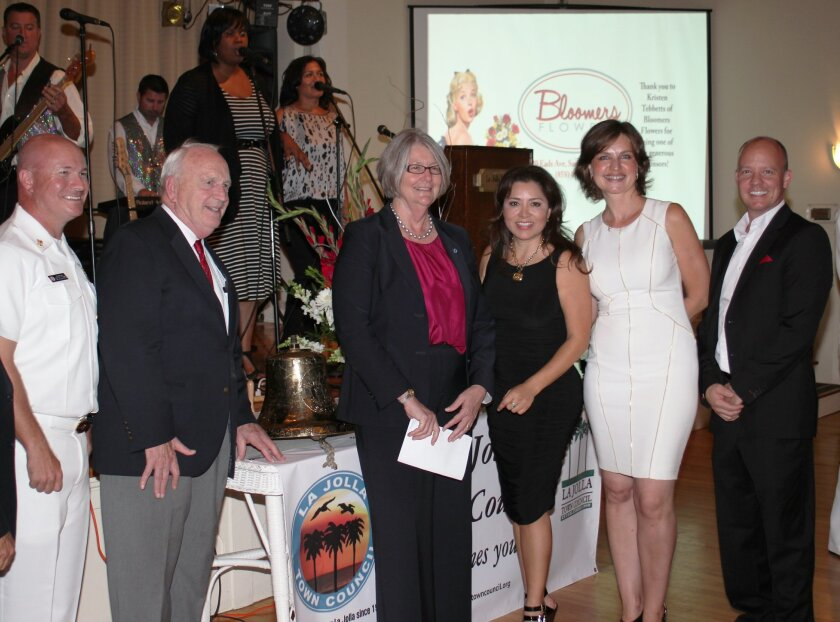 USS La Jolla Chief of Boat Ed Brennan with the submarine's first Commanding Officer, Rear Admiral Rich Lang, City Councilmember Sherri Lightner, Town Council Second Vice President Yolanda de Riquer and trustee Natasha Alexander, and event organizer Brandon Hess.