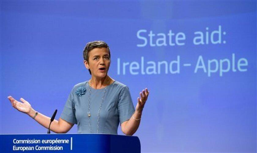 La UE dice que Irlanda ha otorgado exenciones impositivas ilegales a Apple, la cual debe pagar esos impuestos atrasados con intereses por un total de 14.500 millones de dólares.