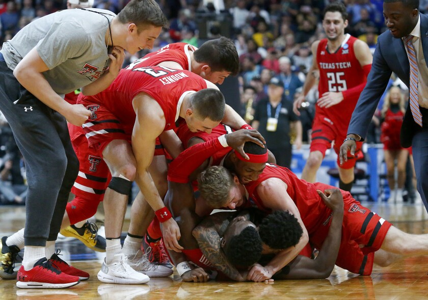 ANAHEIM, CALIF. - MAR. 30, 2019. The Texas Tech Red Raiders celebreate after defeating Gonzaga, 75-