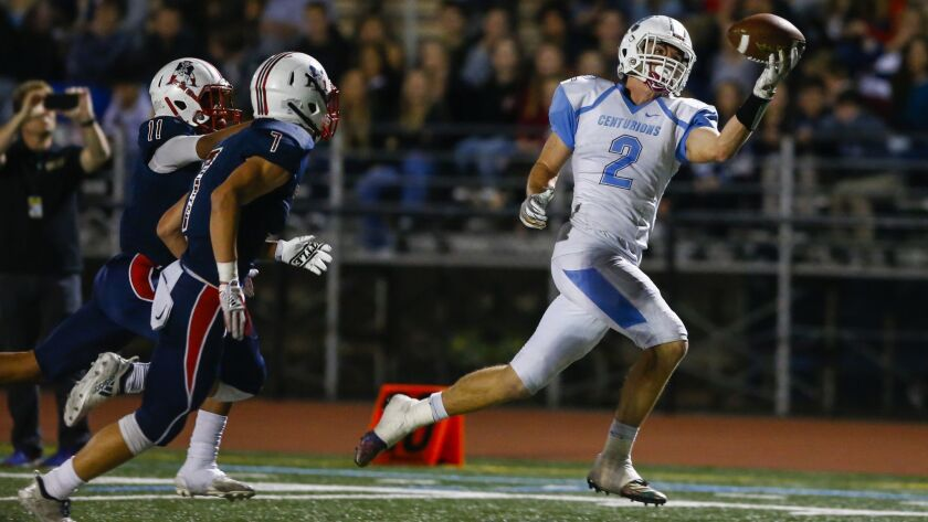 University City wide receiver Casey Granfors (2) makes a one-handed catch for a touchdown in the second quarter against Christian.