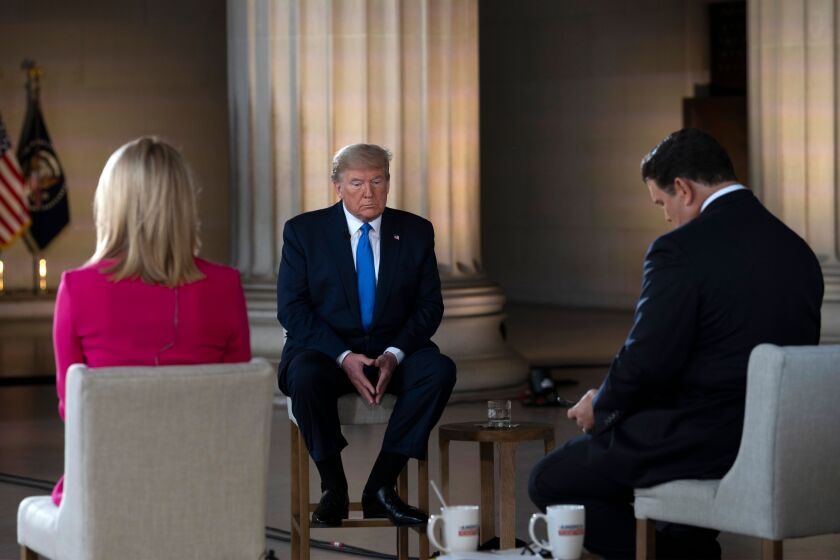 President Trump appearing Sunday with Fox News anchors Martha MacCallum and Bret Baier.