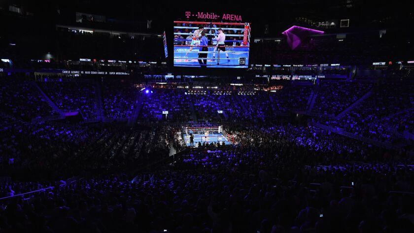 LAS VEGAS, NV - MAY 06: A general view as Canelo Alvarez face Julio Cesar Chavez Jr. during their c