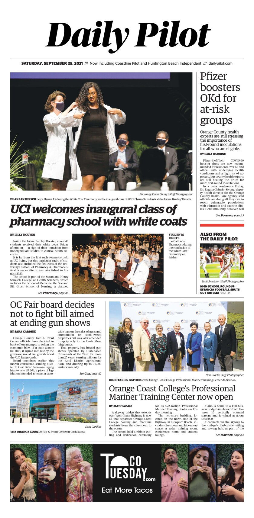 Front page of Daily Pilot e-newspaper for Saturday, Sept. 25, 2021.