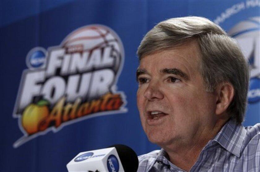 NCAA President Mark Emmert speaks at a news conference Thursday, April 4, 2013, in Atlanta. (AP Photo/John Bazemore)