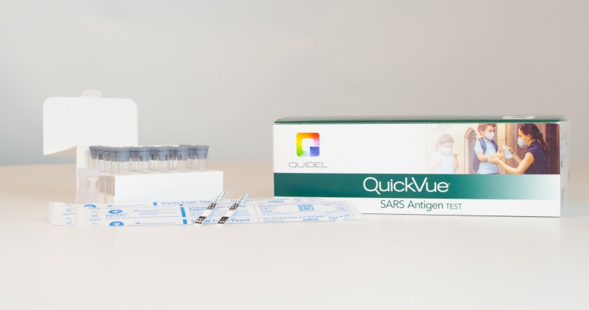 Quidel's QuickVue diagnostic test, which will be produced in Carlsbad.