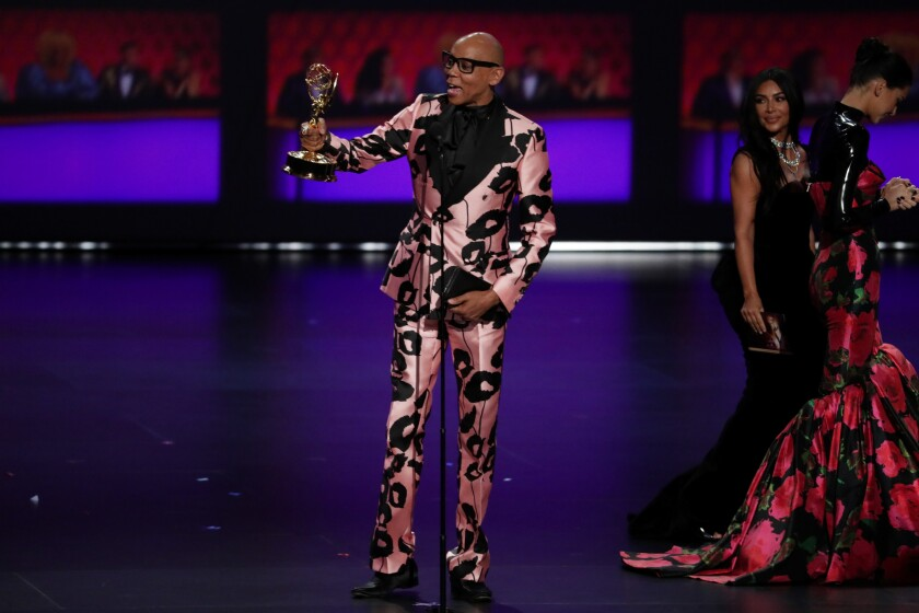 "RuPaul accepts his award for ""RuPaul's Drag Race"" at the 2019 Emmys."