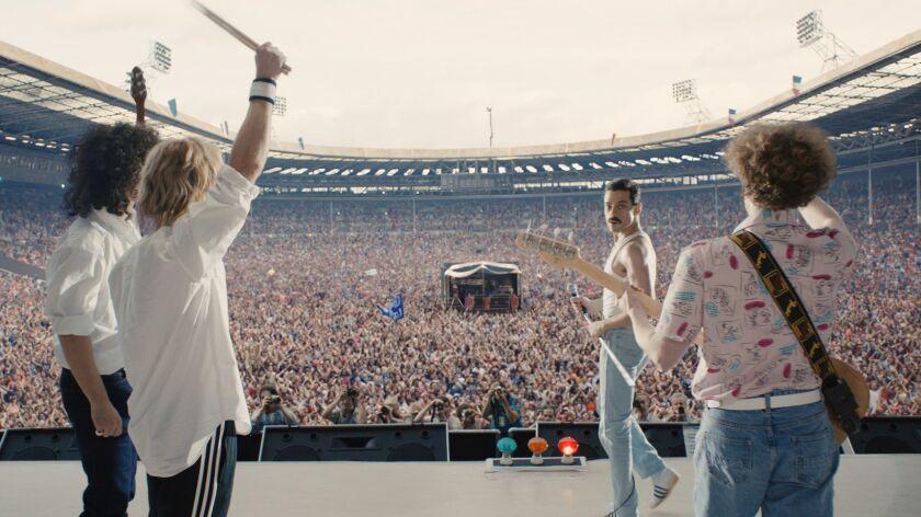 "Gwilym Lee, Ben Hardy, Rami Malek, and Joe Mazzello star in Twentieth Century Fox's ""Bohemian Rhapsody."""