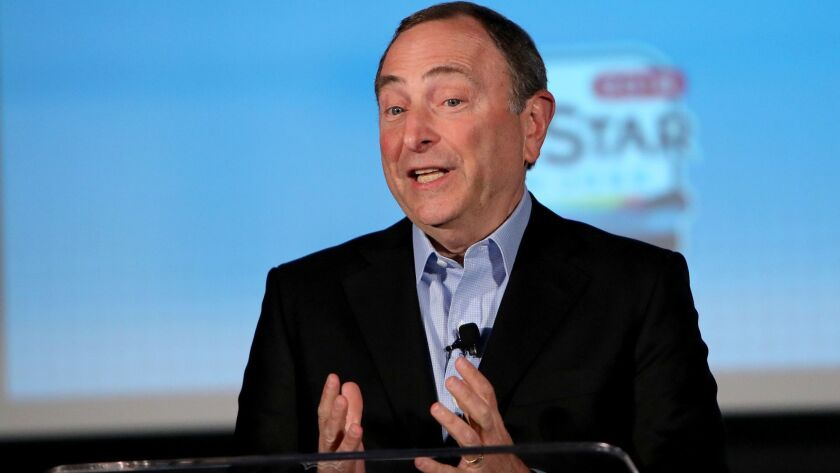 NHL Commissioner Gary Bettman addresses the media during All-Star week on Jan. 25, 2019, in San Jose.