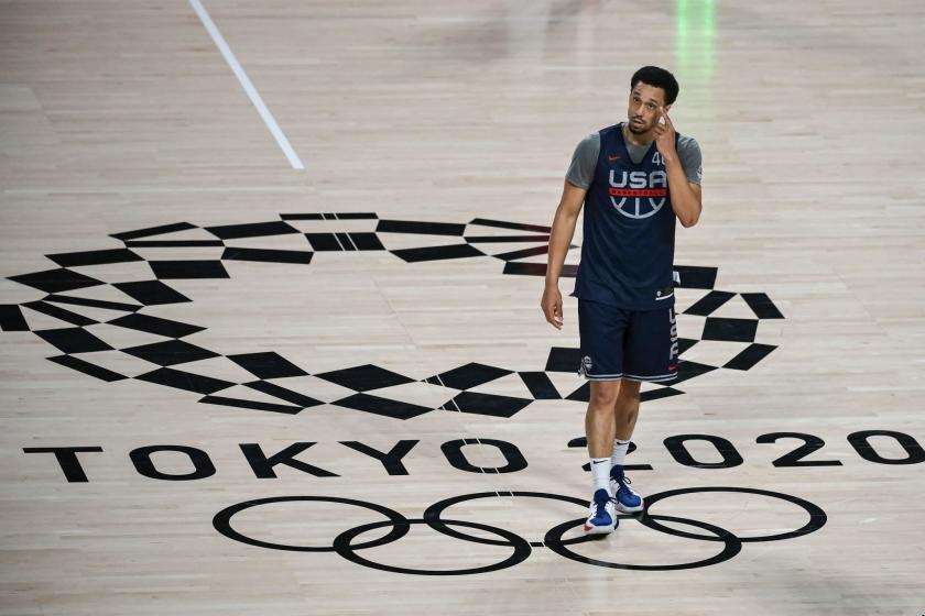 Keldon Johnson attends a U.S. basketball training session at the Saitama Super Arena.