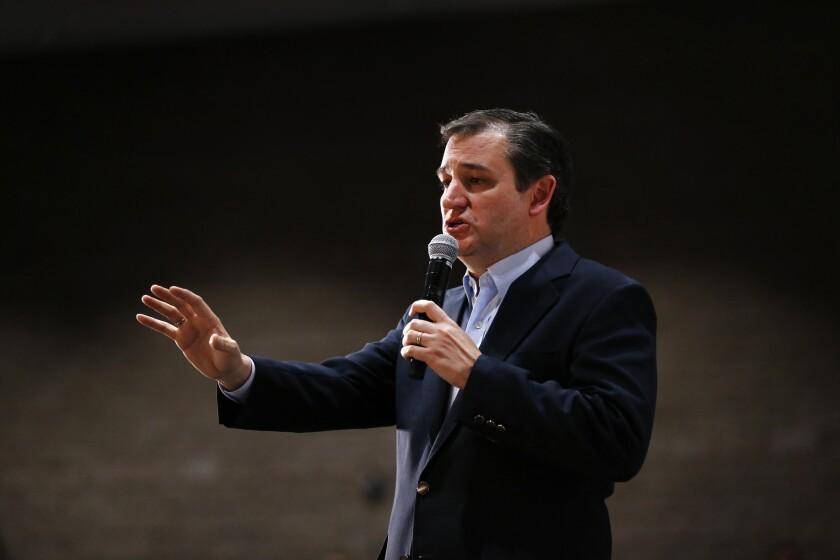 Ted Cruz, aspirante a la candidatura presidencial republicana, habla en un acto proselitista el 16 de febrero del 2016 en Anderson, South Carolina. (AP Foto/Paul Sancya)