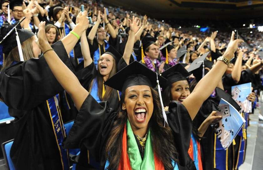 UCLA graduates celebrate last spring. The campus received the most freshman applications in the UC system.