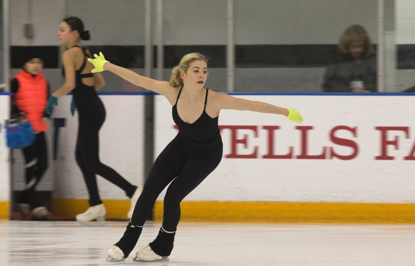 Gracie Gold, two-time U.S. national figure skating champion, practices her program at the Toyota Sports Center on Feb. 3, 2016.