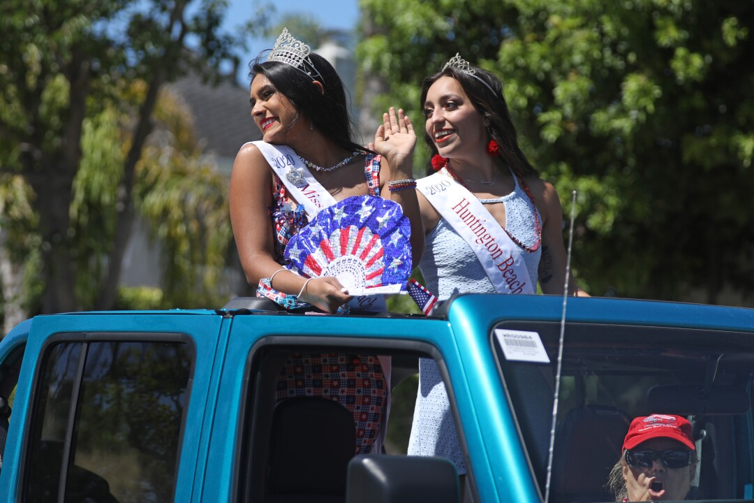 Miss Huntington Beach and Court is represented in the OneHB Neighborhood Parade in Huntington Beach celebrating July 4