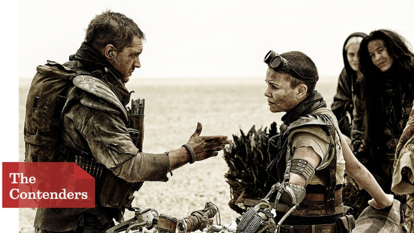 """Jenny Beavan needed to design a visually striking yet practical mechanical arm for Charlize Theron's Furiosa (here with Tom Hardy's Max and others) in """"Mad Max: Fury Road."""""""