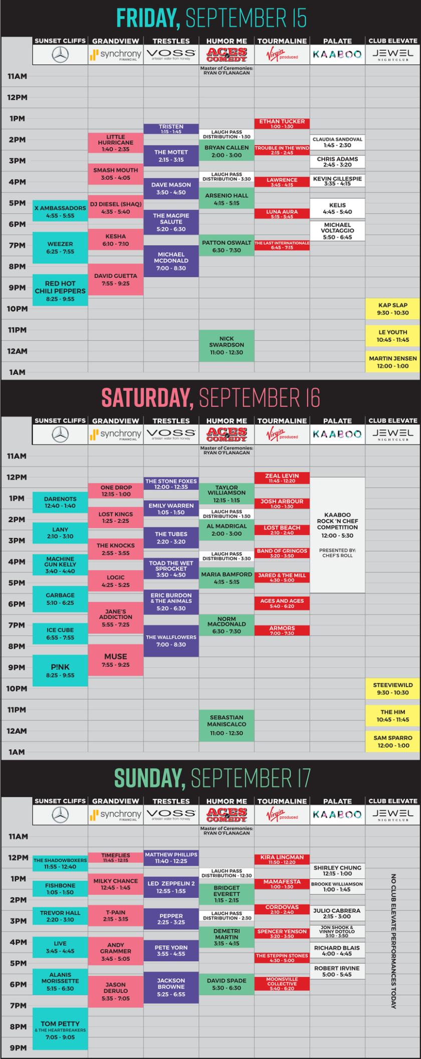 KAABOO Del Mar 2017 schedule.