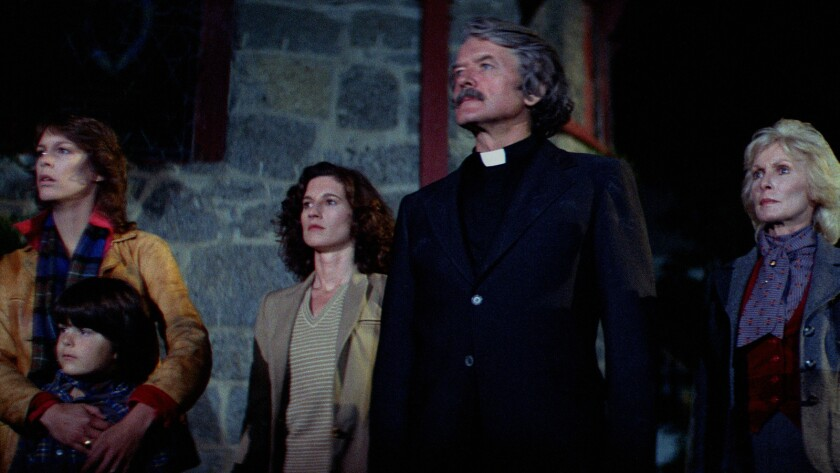 "Jamie Lee Curtis, from left, Ty Mitchell, Nancy Kyes, Hal Holbrook and Janet Leigh in the 1980 movie ""The Fog."""