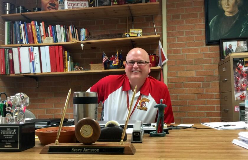 Park Elementary School Principal Steve Jameson in his office in Columbus, Kan.