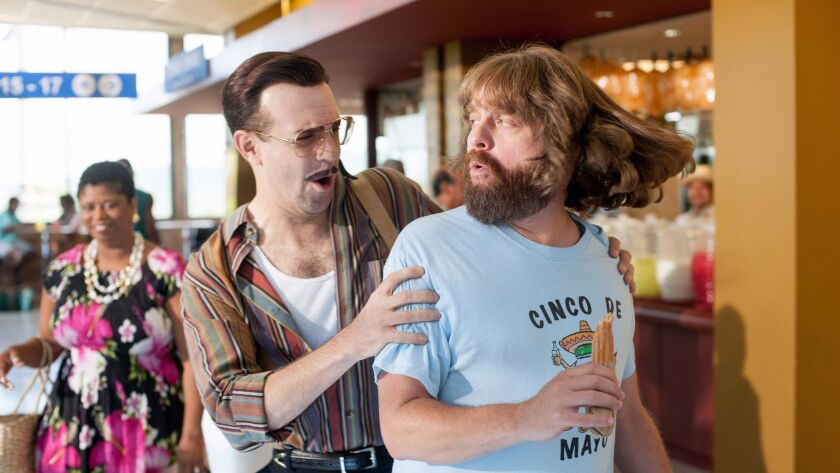 "Jason Sudekis and Zach Galifianakis in the Relativity film ""Masterminds."""