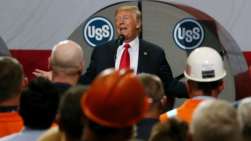 President Trump addresses steel workers at United States Steel Corp.'s Granite City Works in Illinois in July.