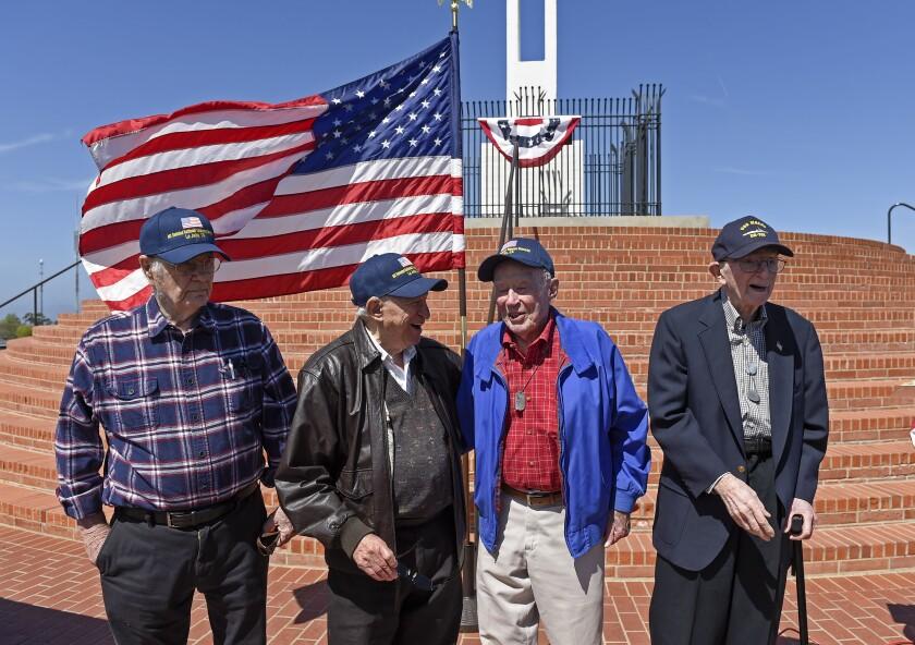 Gene Elmore, Byron Newman, John Peterson and Jack Scott at the Mt. Soledad National Veterans Memorial.