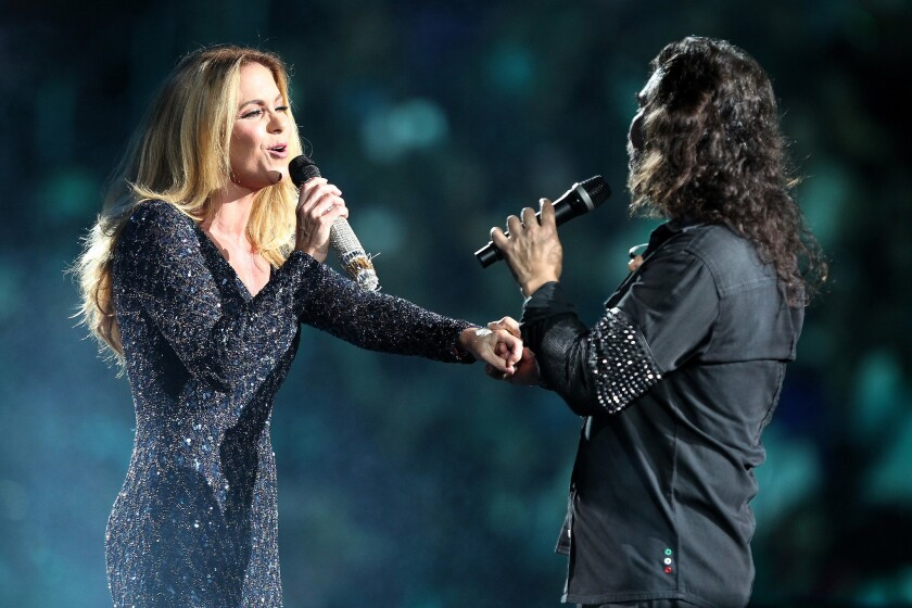 Lucero Hogaza and Marco Antonio Solis performs onstage during the 40 a–os La Trayectoria Tour at the Staples Center on October 08, 2016 in Los Angeles, CA. (Photo by © Art. Garcia/DDPixels.com)