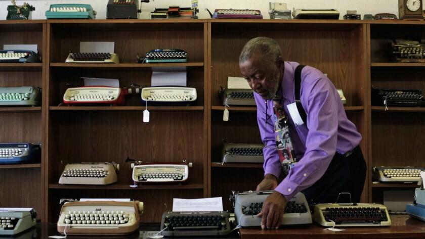 "Herbert Permillion in a scene from the documentary ""California Typewriter."""