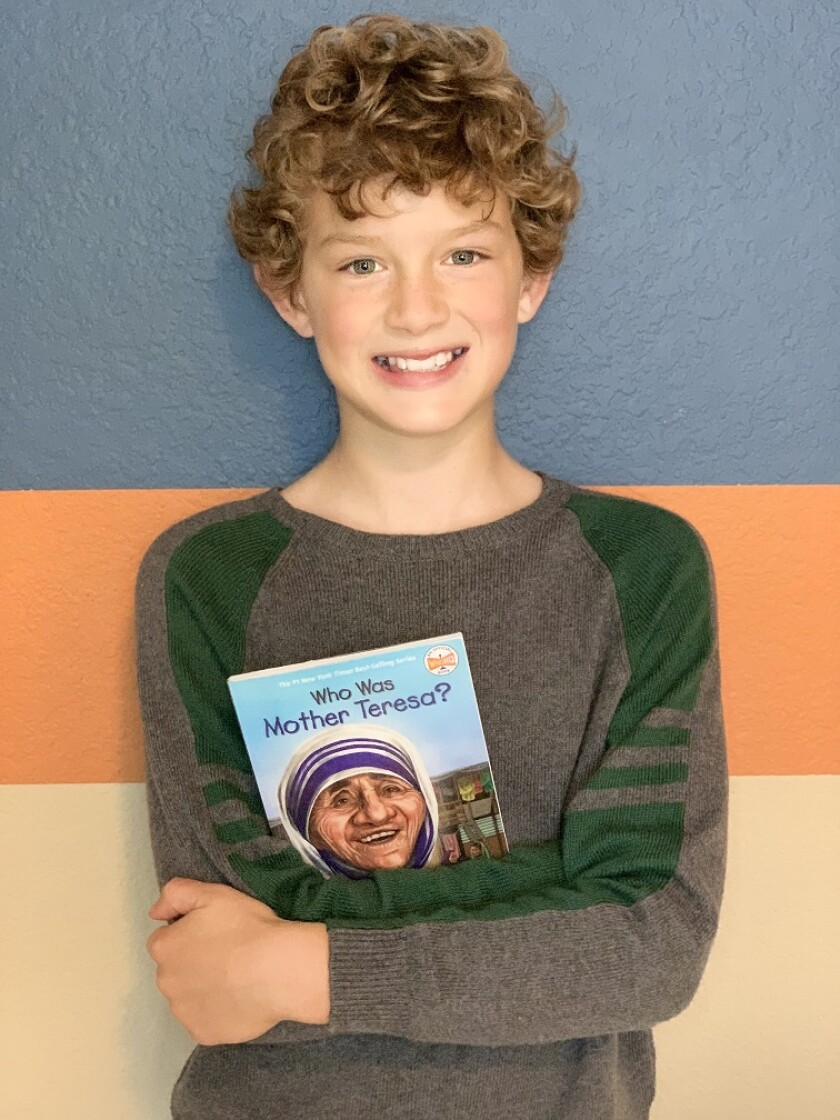Quade Kelley, an Encinitas fifth-grader, was one of 10 recent winners in the Who Was? History Bee contest.