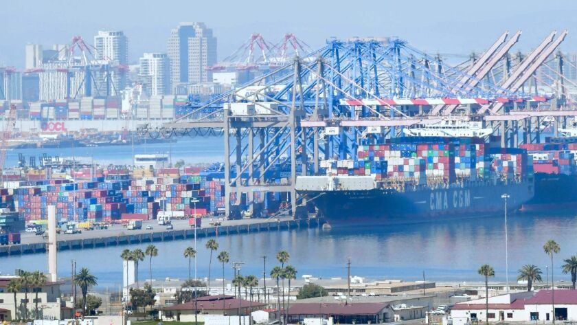 Employers in California's trade, transportation and utilities sector cut jobs in June. Above, the Port of Long Beach.